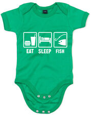 Eat Sleep Fish Fishing Inspiré Kid's Imprimé Baby Grow doux à manches courtes AN...