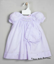 NWT Petit Ami Lavender Multi Smocked Daygown Bonnet 2PC Preemie Reborn Baby Girl