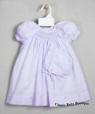 NWT Petit Ami Lavender Multi Smocked Daygown Bonnet 2PC Preemie Reborn Baby Girl