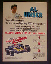 1970 Al Unser~Johnny Lighting 500's Indy Die~Le Mans~Cast Toy Auto Racing Car Ad