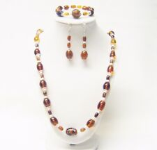 Mixed Oval Brown Transparent Glass Bead Necklace/Bracelet /Earrings