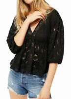 Free People Womens Blouse Black Size Small S V-Neck Lace-Trim Eyelet $128- 416