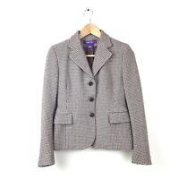 Ralph Lauren Collection Purple Label Jacket 2 Brown Houndstooth Wool $2700 Women