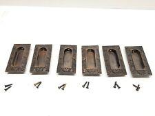 6 Antique Victorian Cast Iron & Brass Window Sash Handles Ornate Corbin Eastlake