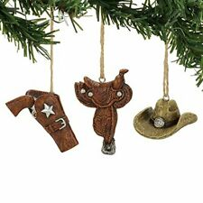 Department 56 Giddy Up Hat Holster Saddle Hanging Ornaments / Set of 3
