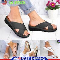 Women Ladies Wedge Cross Strap Sliders Slip On Summer Sandals Mules Slipper Size