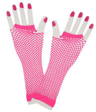 Neon Pink 80s 1980s Long Net Gloves Womens Ladies Party Fancy Dress Costume 9300