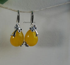 Genuine 925 sterling silver natural yellow Chalcedony dragonfly dangle earrings