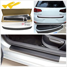 5 X 4D Carbon Fiber Look Car Door Pedal Tail Lip Protector Stickers Anti Scratch