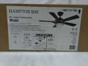 Hampton Bay Midili 44 in. Indoor LED Gilded Espresso Dry Rated Ceiling Fan
