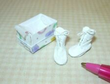 "Miniature ""Doll's Cobbler"" White Leather TODDLER'S Laced Shoes: DOLLHOUSE 1:12"