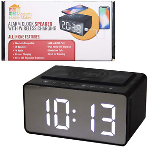 Alarm Clock with Wireless Charging Dock for Phone Radio Digital Alarm Clock with