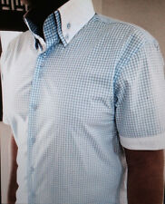 MorCouture Blue White Gingham High Double Collar Short Sleeve Shirt