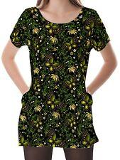 Spring Green Gold Butterfly Women Scoop Neckline Pockets Top Shirt b16 acr03269