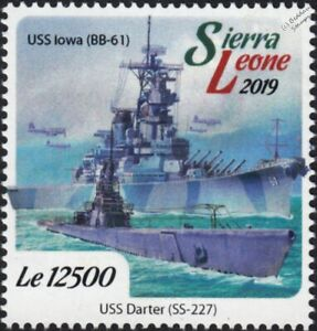 WWII 1944 Battle of Leyte Gulf USS IOWA BB-61 Battleship DARTER Submarine Stamp