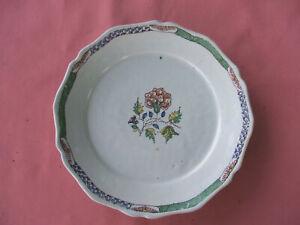 Ancienne assiette faïence de Sinceny Rouen 18e siècle