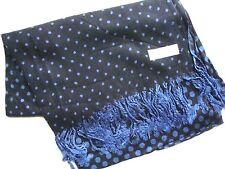 NEW Pashmina Winter Scarf Scarves Silk Black Small Navy Blue Polkadot Shawl Wrap