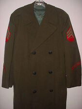 USMC Marines Vintage Wool Overcoat  Coat Mens Size 36L Long Military green