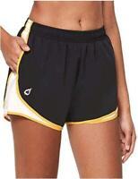 "BALEAF Women's 3"" Athletic Running Woven Shorts, Black/White/Yellow, Size Small"