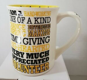 Volunteer Typography Hard Working Stoneware Coffee Mug, 16 Oz. Cups Mugs Mud