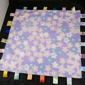 """Taggies Big Taggie Lovey Security Blanket Girls Floral Purple Pink Faith 17"""""""