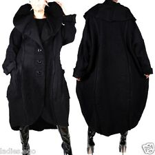 WOLLE MANTEL TRENCH COAT LAGENLOOK WINTER ÜBERGANG SCHWARZ Gr 60 4XL XXXXL NEU