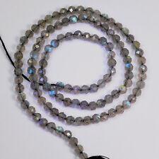 "Blue Flash Labradorite Faceted Round Rondelle Bead 13"" strand"