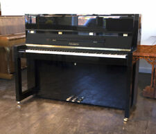 New, Bauhaus style, Feurich Model 115 upright piano with a black case