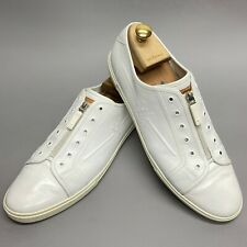 Louis Vuitton low top white leather zipped sneakers LV logo 12 US 45 EUR GO0019