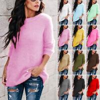 Plus Size Women Knit Sweater Fluffy Oversized Top Pullover Jumper Knitwear S-5XL