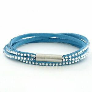 Womens Blue Leather Beaded Bracelet, Girls Layer Stack Studded Wristband