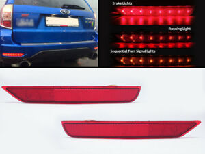 LED REAR FOG BRAKE LIGHT SEQUENTIAL TURN SIGNAL LIGHTS For 08-17 Subaru Forester