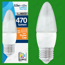 12x 5.5W LED Ultra Low Energy, Instant On, Pearl Candle Light Bulb, ES, E27 Lamp