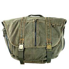 LL Bean Soft Canvas Messenger Bag Laptop Bag Green Metal Clasps LLB# 0JSJ6