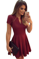 Burgundy Sweet Scallop Pleated Skater Dress Club Party Summer Wear Size UK 8-10