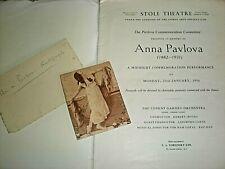 ANNA PAVLOVA. GENUINE AUTOGRAPH. circa 1920s. NOT PRINTED!