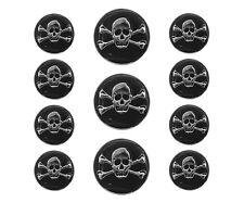 11 pc Jolly Roger Skull Metal Blazer Jacket Coat Button Set Silver / Black Color