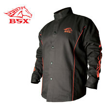 Stryker™ Flame Resistant Welding Jacket - Blk With Red Trim And Flames Size L