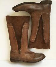 Officine Creative Brown Distressed Leather & Suede Mid Calf Boots Sz 37 US 7