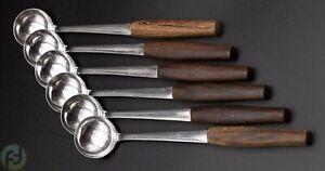 Vintage Fondue Löffel - 6er Set - Teak - Holzgriffe - ca. 16cm - midcentury
