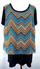 Sunny Leigh Women's2fer Top Size XL Black T-Shirt Tee w/a Semi Sheer Aztec Tank