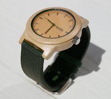 Men's Timbrwood Watch - Maple Wood with Dark Green Canvas Strap (Modern)