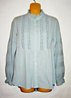 Sundance Luella Victorian Pleated Blue Lace Top Cotton Long Sleeve Size XS