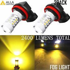 Alla Lighting 3000K Bright H11 16-LED Fog Light Driving Bulbs Lamp Golden Yellow