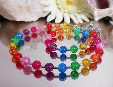 Bezauberndes Collier aus Crackle Glas Perlen Bunt Regenbogenfarben