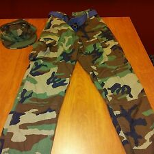 Propper BDU Trouser- Button Fly Woodland Military Pants with Matching HAT EUC
