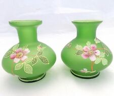 Antique Pair Moser Type Green Glass Posy Vases Hand Painted Enamelled Decor 1890
