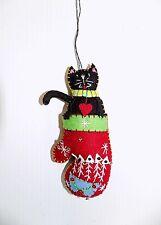 New Hand Crafted Folk Art Christmas Ornament Black Cat/Kitten in Mitten