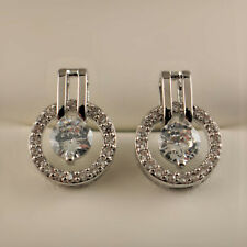 18ct White Gold Pltd Clear Zirconia Crystal Circle Round Stud Drop Earrings 423