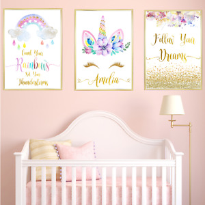 Unicorn Personalised Name Nursery Prints Set, Baby Girl Bedroom Art 3 Pictures